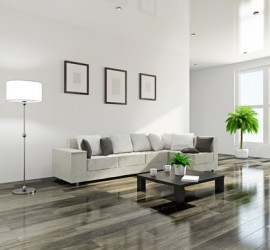 Livingroom with a sofa and a wooden table